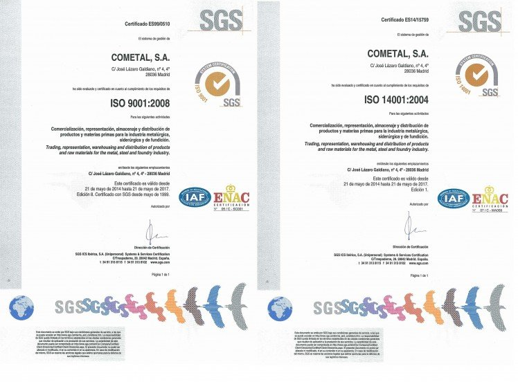 Quality and Environmental Management System: UNE-EN ISO 9001:2008 y UNE-EN ISO 14001:2004